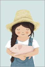 Premium poster  Girl with piglet - Sandy Lohß