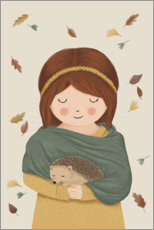 Canvas print  Girl with hedgehog - Sandy Lohß