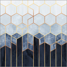 Wood print  Blue hexagons - Elisabeth Fredriksson