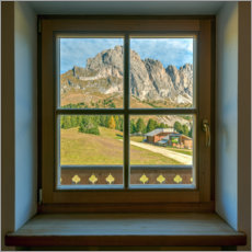 Canvas print  Window view in the Dolomites - Michael Valjak