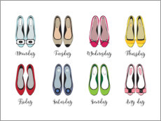 Acrylic print  Colorful shoe week - Martina illustration
