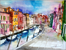 Premium poster  Burano, colourful island in Venice - Johann Pickl