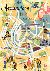 Gallery print  Vintage Amsterdam Collage Poster - GreenNest