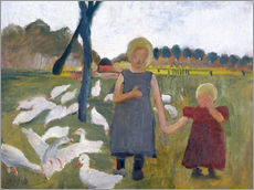 Wall sticker Children with geese at a drawing well