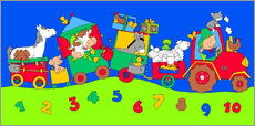 Gallery print  tractor train with farm animals and numbers - Fluffy Feelings