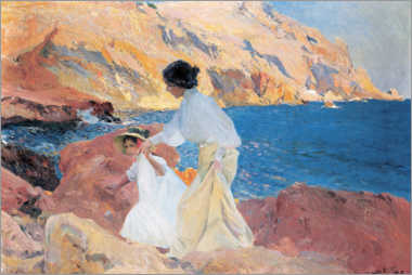 Canvas print  Clotilde and Elena on the Rocks, Javea - Joaquín Sorolla y Bastida