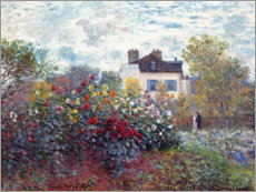 Wood print  The Artist's Garden in Argenteuil - Claude Monet