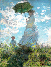 Premium poster  Woman with a parasol - Madame Monet and her son - Claude Monet