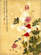 Gallery print  Poppies and Butterflies - Ma Yuanyu