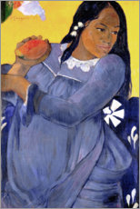 Premium poster Woman in a blue dress with a mango