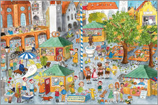 Wall sticker  Hidden object poster, Market in Munich - Annegret Reimann