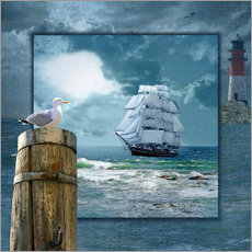 Wall sticker  Collage With Sailing Ship - Monika Jüngling
