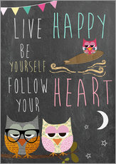 Gallery print  Live Happy, be yourself, follow your heart - GreenNest