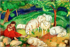 Canvas print  Shepherdess with sheep - Franz Marc