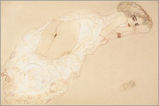 Gallery print  Lying on her stomach - Gustav Klimt