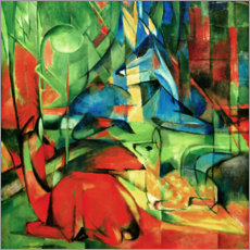 Foam board print  Deer in the forest II - Franz Marc