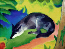 Wood print  Blue black fox - Franz Marc