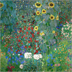Foam board print  Garden with Sunflowers - Gustav Klimt