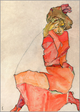 Gallery print  Kneeling woman in red dress - Egon Schiele