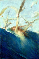 Gallery print  A Mermaid Being Mobbed by Seagulls - Giovanni Segantini