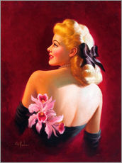 Gallery print  Glamour Pin Up with Pink Orchids - Art Frahm