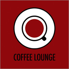 Wall sticker Coffee lounge, red