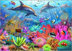 Gallery print  Dolphin coral reef - Adrian Chesterman