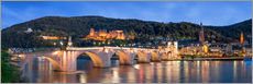 Gallery print  Heidelberg skyline panorama at night with castle and Old Bridge - Jan Christopher Becke