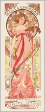 Wall sticker  Moet & Chandon, white star, rose - Alfons Mucha