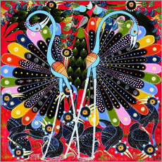 Wall sticker  Peacock in courtship - Stephan