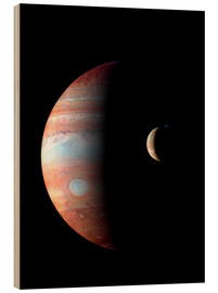Wood print  Jupiter and its volcanic moon Lo