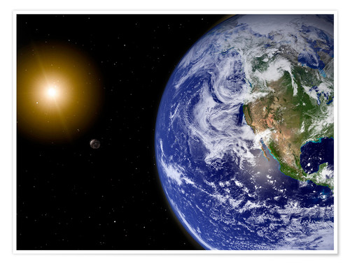 Premium poster Earth with water-bearing moon