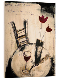 Wood print  A glass of wine - Christin Lamade