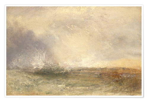 Premium poster Stormy sea breaking on a shore