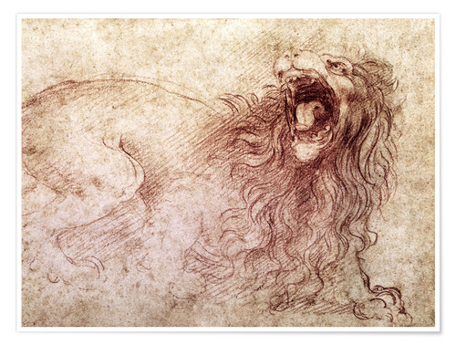 Premium poster Sketch of a roaring lion