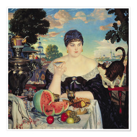 Premium poster  The Merchant's Wife at Tea - Boris Mihajlovic Kustodiev