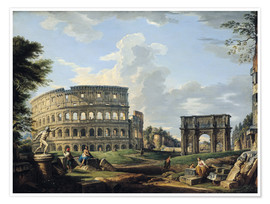 Premium poster  The Coliseum and the Arch of Constantine - Giovanni Paolo Pannini