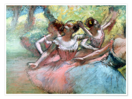 Premium poster  Four ballerinas on the stage - Edgar Degas