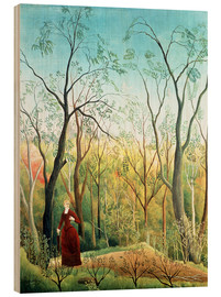 Wood print  The walk in the forest - Henri Rousseau