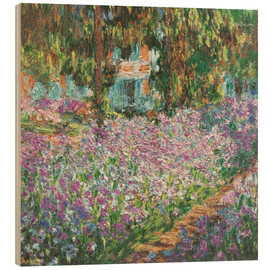 Wood print  The Artist's Garden at Giverny - Claude Monet