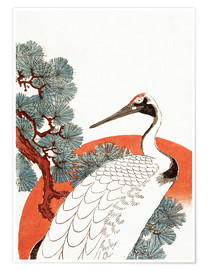 Premium poster  First Sunrise of the New Year With a Crane in a Pine Tree - Utagawa Hiroshige