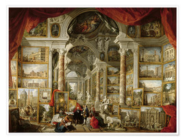 Premium poster  Gallery with pictures of Modern Rome - Giovanni Paolo Pannini