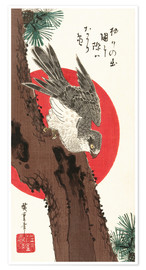 Premium poster  Falcon, Pine, and New Year Sunrise - Utagawa Hiroshige
