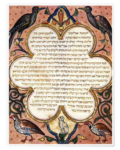 Premium poster Page from a Hebrew Bible with birds