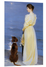 Foam board print  Summer Evening at Skagen. The Artist's Wife and Dog by the Shore - Peder Severin Krøyer