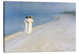 Canvas print  Summer Evening on the Skagen Southern Beach with Anna Ancher and Marie Kroyer - Peder Severin Krøyer