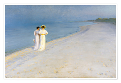 Premium poster Summer Evening on the Skagen Southern Beach with Anna Ancher and Marie Kroyer