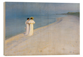 Wood print  Summer Evening on the Skagen Southern Beach with Anna Ancher and Marie Kroyer - Peder Severin Krøyer