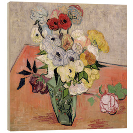 Wood print  Roses and Anemones - Vincent van Gogh