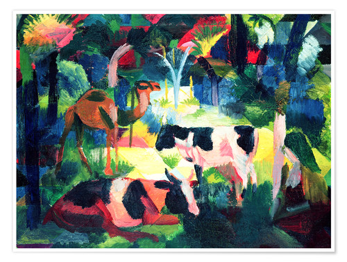 Premium poster Landscape with Cows and a Camel